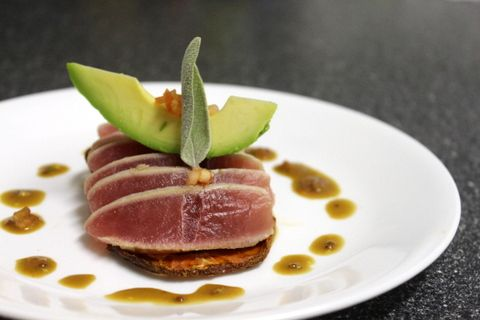 Seared Ahi and Baked Tomato with Mustard Soy Sauce