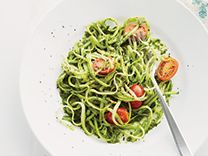 "Zucchini ""pasta"" with pesto"
