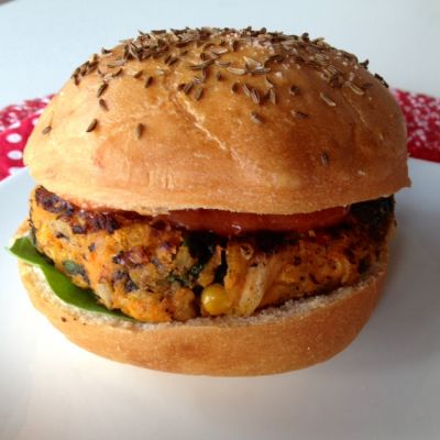 Sweet on Weck...a Sweet Potato Patty on a Kimmelweck Roll
