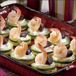 Shrimp and Mushroom-Topped Crackers