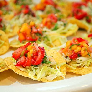 Crab Tostadas with Strawberry & Mango Salsa