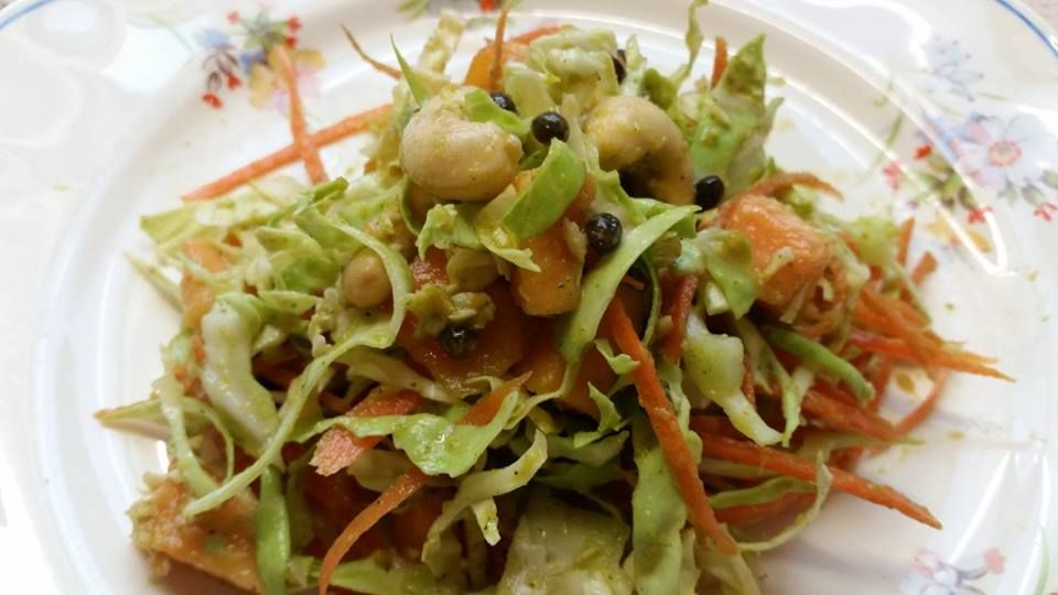 Curry Cabbage Salad with Cashews