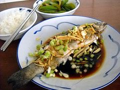 Steamed trout with ginger and spring onions