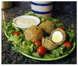 Baked Scotch Eggs with Dijon sauce