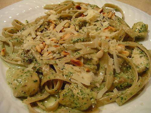 Pasta With Chicken, Mushrooms And Pesto Cream