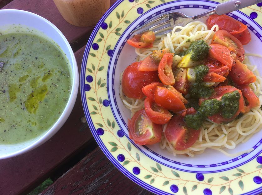 Pasta with Grilled Veggies and Pesto