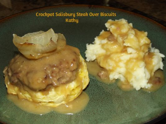 Crockpot Salisbury Steak Over Biscuits