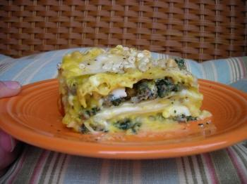 Acorn Squash Bechamel Lasagna with Sage Sausage and Spinach