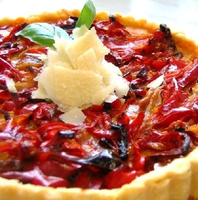 Roasted Red Pepper Tart with Olive Tapenade