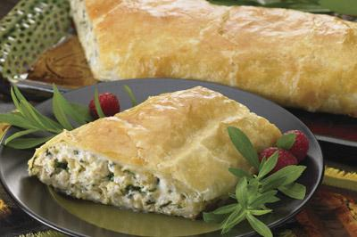 Puffed Chicken & Spinach Roll-ups