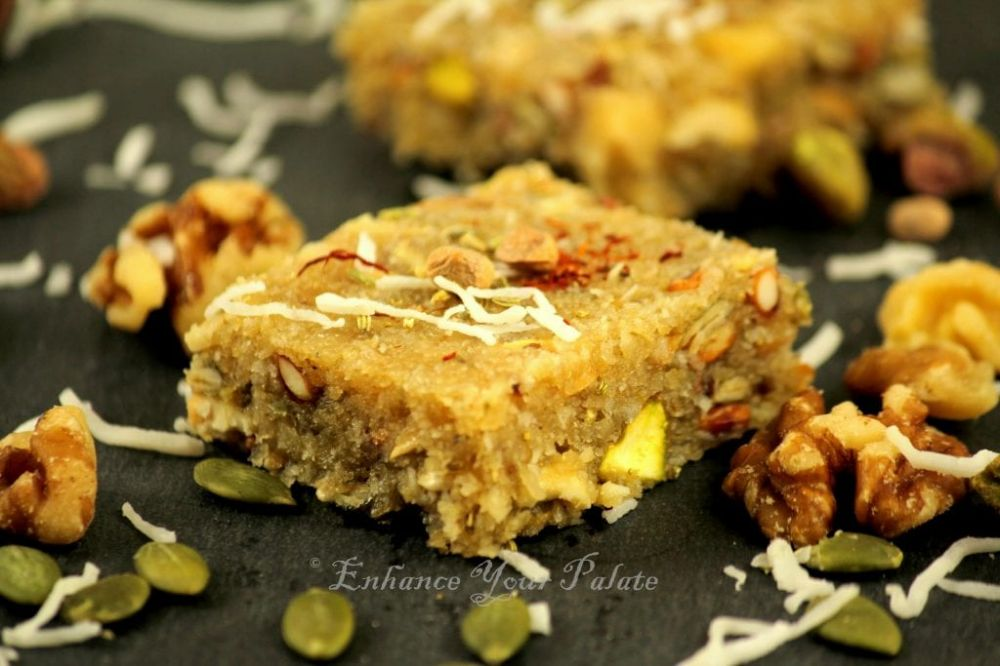 Mixed Nut Coconut Burfi with a hint of Fennel