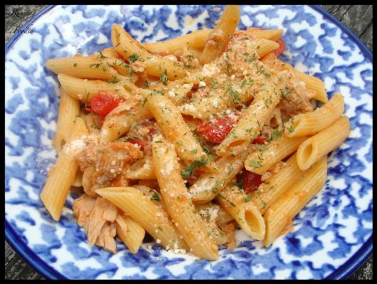 Tuna and Grape Tomato Pasta with Pear-infused White Balsamic Sauce