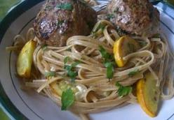 Linguine with Zucchini and Feta Stuffed Turkey Meatballs