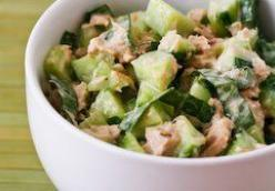 Garden Cucumber Salad Recipe with Tuna and Sweet Basil