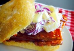 BBQ Tempeh Sandwich with Pineapple Slaw