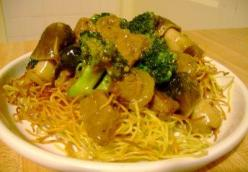 Beef & Broccoli over Hong Kong Pan Fried Noodles