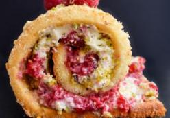 Luscious white chocolate, raspberry and pistachio Swiss roll