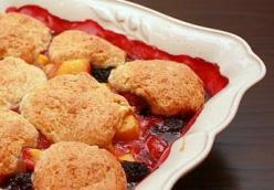 Peach and Blackberry Cobbler with Crystallized Ginger