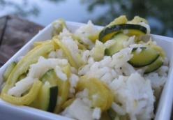 Basmati Rice with Sautéed Yellow Squash and Zucchini.