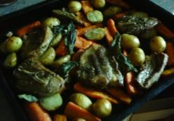 herby lamb chops with roast vegetables