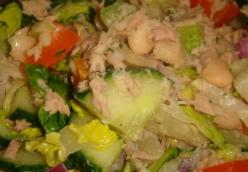 Refreshing Veggie Salad with Tuna, Cucumber, Pineapple and lots more