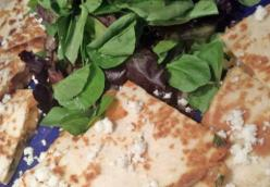 BBQ Onion and Smoked Gouda Quesadillas On a Bed of Baby Greens with a Tabasco Dressing