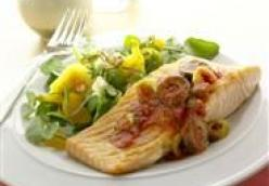 Broiled Salmon with Olive-Tomato Vinaigrette
