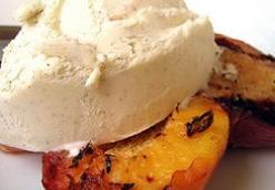 GRILLED PEACHES AND VANILLA BEAN ICE CREAM