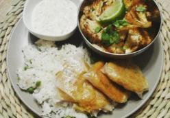 Tandoori Cauliflower with Cashew Raita and Rice Paper Samosas