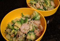 Spiralized zucchini with shrimp