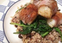 Prosciutto-Wrapped Scallops with Spinach and Wild Rice