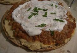 Spiced Lamb Pita Pizza with White Bean Hummus