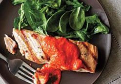 Salmon with Spicy Red Pepper Pesto